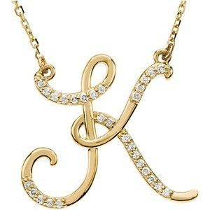 14kt Yellow Gold Diamond Initial Letter K Pendant Necklace 17