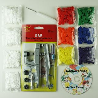 KAM Snaps Starter Kit Pliers Awl 100 Sets for Cloth Diapers Baby Bibs