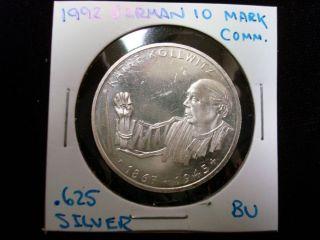 1992 G German Kathe Kollwitz Commemorative Coin 625 Silver 10 Mark BU