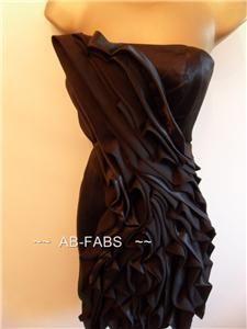 Karen Millen Black Silk Ruffle Cocktail Dress 8 16