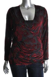 Karen Kane NEW Black Velvet Long Sleeve Faux Wrap Top Shirt Plus 0X