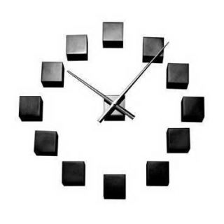 Karlsson Modern Contemporary DIY Wall Clock Black Cube Customisable