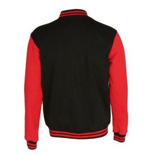 Urban Classics College Varsity Jacket Black Red s 3XL