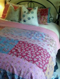 Reversible Karma Living Kantha Boho Floral Bohemian Queen Quilt 2