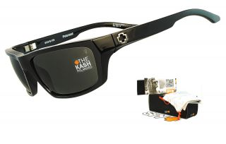 Spy Kash Mens Sunglasses Gloss Black Frame   Grey Polarized Lens