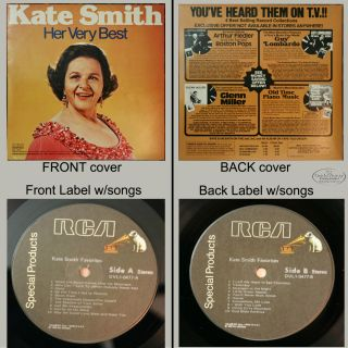 Kate Smith Her Very Best DVL 1 0477 1980 w God Bless America Collector