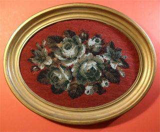 Antique Victorian Era Needlepoint Beadwork Framed Circa 1860 Jane