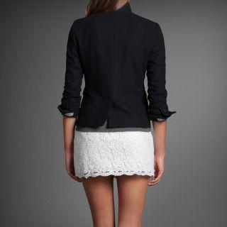 Abercrombie Hollister Women Keegan WOOL Jacket Blazer Coat   Navy S
