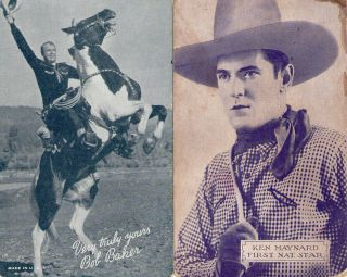 Vintage Postcards Western Movie Stars Bob Baker Ken Maynard
