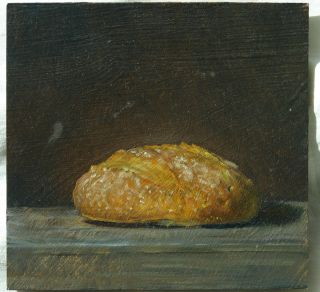 Early Duane Keiser Original Oil Painting A Day 2006 Kitchen Art Bread