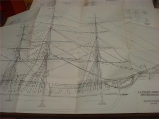 Seven Pages of Model SHIP Plans U s Frigate Constitution