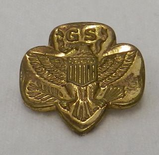Vintage Gold Girl Scout Eagle Trefoil Pin Shiny 1970s Old Style Clasp