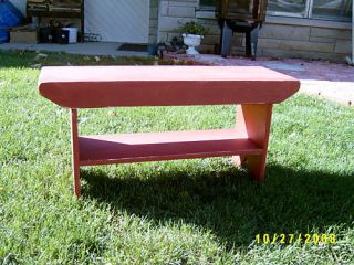Handmade Primitive Wooden Bench w Shelf for Shoe 36
