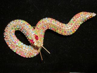 Kenneth J Lane Rhinestone Snake Pin Really Huge Beautiful Pin