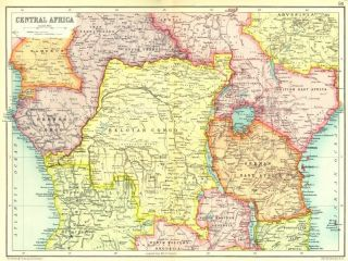 AFRICA French Belgian Congo British German Kenya Tanzania 1909 map