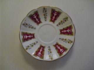 Taylor Kent Bone China Saucer w Decor and Gold Trim