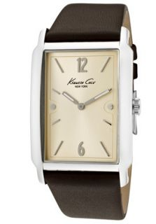 Kenneth Cole Watch KC1520BN Mens Champagne Dial Dark Brown Leather