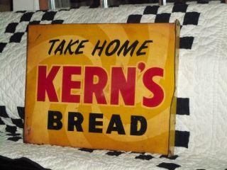 Vintage Metal Kerns Bread Sign Take Home Kerns Bread Two Sided
