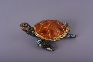 Faberge Turtle trinket box by Keren Kopal Swarovski Crystal Jewelry