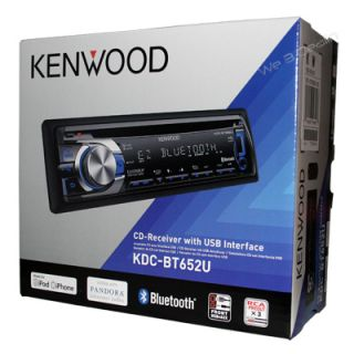 Kenwood KDC BT652U InDash CD Player AM FM Stereo Receiver Bluetooth
