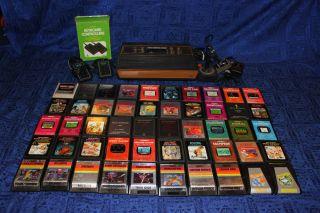 ATARI 2600 Woodgrain Console Lot Keyboard Box 50 Great Games PAC MAN