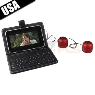 1080p Tablet Touchscreen Leather Case Keyboard Dual Speakers