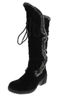 Khombu NEW Solar Black Suede Faux Fur Knee High Snow Boots Shoes 6 5