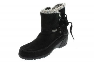 Khombu NEW Moon Black Leather Lace Up Ankle Waterproof Snow Boots