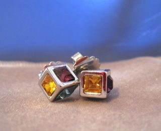 Lia Sophia Kiam  Cut Crystal  Multi Colored Rhinestone Box Earrings
