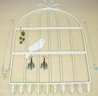 Jewelry Earring Key Ring Wall Mount Rack Hanger Holder White
