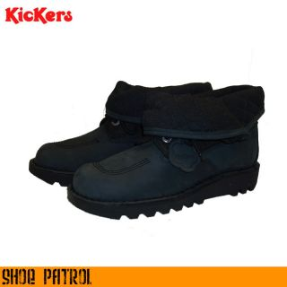 Kickers Black Kick Hi Fold Mens Black Nubuck Leather Boots Shoes