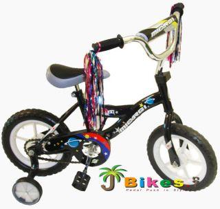 Kids Boys 12 BMX Bikes Micargi MBR12Y with Training Wheels Black