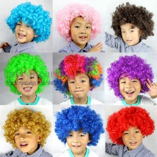 Afro Wig Curly Hair Clown Fancy Dress Bob Cosplay Costume Kids Circus