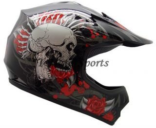 Youth Kids ATV Motocross Dirt Bike MX Off Road Black Rose Skull Helmet