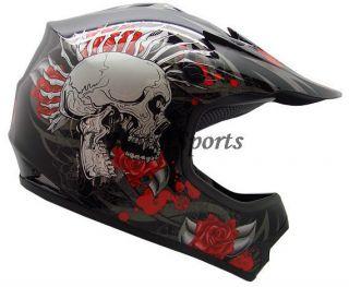 Youth Kids ATV Motocross Dirt Bike MX Off Road Black Rose Skull Helmet