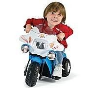 Kids Blue White Police Electric Chopper Ride on Motorcycle Power