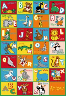 Rug Educational ABC Alphabet Numbers Kids Animal Play Mat 39 x58 New
