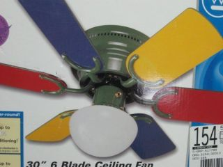 Primary Colors Ceiling Fan Children Kids Room Red Blue Green Ye