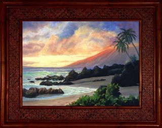 Maui Kihei Sunset Beach Hawaii Wailea Kamaole Rattan Frame Framed