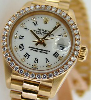 Rolex Lady Gold President White Roman String Diamond 79138 Watch Chest