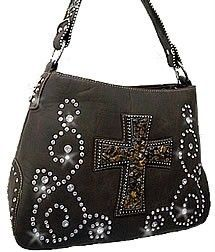Dark Brown Western Cross Rhinestone Hobo Handbag Purse