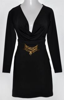 BABY PHAT KIMORA LEE Sexy BLACK Plunge Neck GOLD Detailed PARTY DRESS