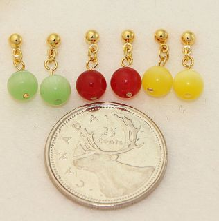 Pairs of Mini Gemstone Candy Earrings for Kids