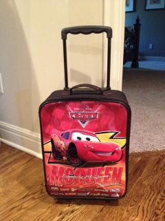Cars Lightning McQueen Kids Rolling Luggage Suitcase 17 x 12