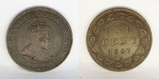 Canada King Edward VII One Cent 1907 H High Grade
