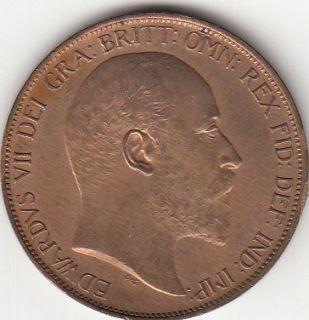 1903 King Edward VII Bronze Penny 1D British Coin