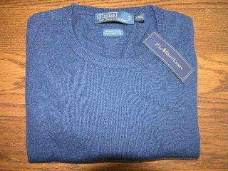 New Polo Ralph Lauren Mens XXL Cashmere Blue Crewneck Cotton Sweater