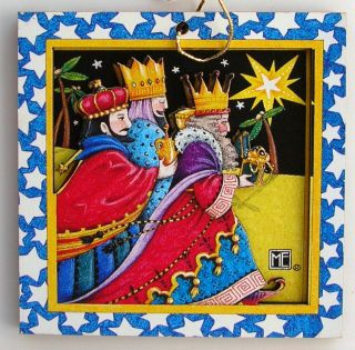 Christmas Laser Cut Wood Gift Tag Ornament Three Wise Men Kings