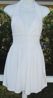 Baby Phat Kimora Simmons White Terry Halter Top Blouse Bathing Suit