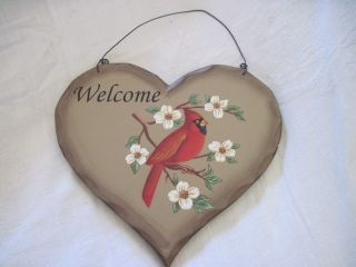 Cardinal Welcome Sign Heart Shaped